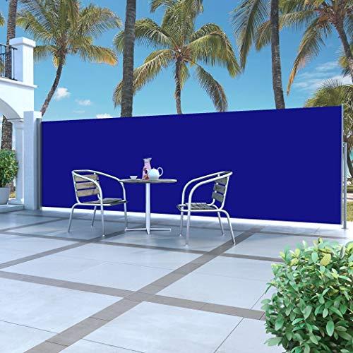 Tidyard Ausziehbar Seitenmarkise UV- und wasserbeständig Sonnenschutz Sichtschutz Windschutz Seitenrollo Markise Seitenwandmarkise Balkon Garten Terrasse 160 x 500 cm Blau