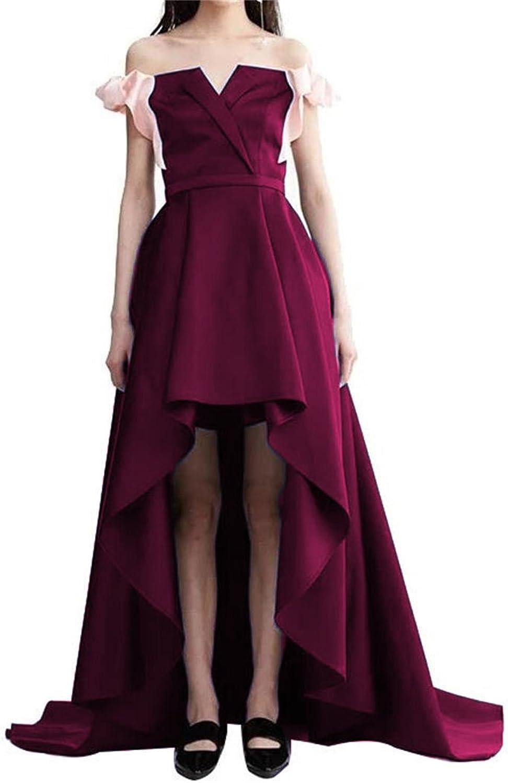 Dydsz Women's Long Prom Party Dresses HiLo Formal Gowns Off Shoulder Bowknot D260