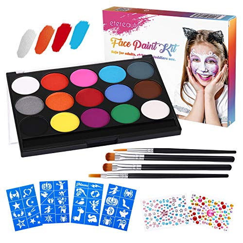 Face Painting Kits for Kids Body Paints for Adults 15 Colors【2020 Newest】Water Based Paint, 4 Brushes, 6 Stencils, Face Paint Makeup Palette Safe Non-Toxic Birthday Halloween Makeup Kit