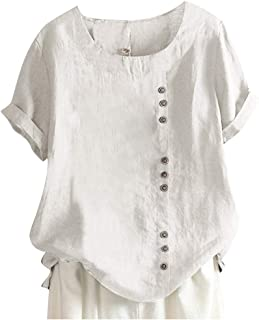 Xinantime Womens Loose Solid Color Shirts Button O-Neck Short Sleeve Cotton Linen Top Blouse T-Shirt