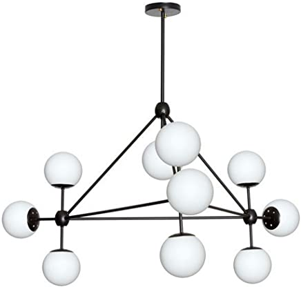 Dainolite dmi-4410?C-whbk 10ライトシャンデリア、ブラック仕上げ、ホワイトガラス