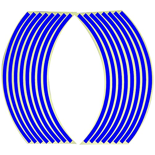 MeterBew1147 Pegatina para Rueda de Coche Pegatinas Reflectantes para neumáticos de 18 Pulgadas Cinta Reflectante de Advertencia de Seguridad Cinta Reflectante Fluorescente Impermeable - Azul