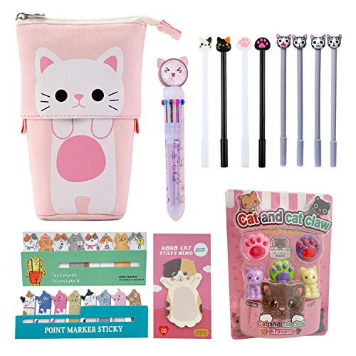 Kawaii Stationary Set Pop Up Pencil Case, 8 x Cat Pens, 10-in-1 Multi Color Pen, 3 x Stickers Cat Sticky Notes Page Markers and Fun Erasers Pack - Cute Stationery Set Office Desk Penpal Supplies