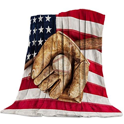 AEMAPE Manta Suave para sofá Cama, Guante de béisbol con Bandera Estadounidense, Guante de béisbol, Ligero, para Viaje, para Acampar, cálida y acogedora Manta de 50 'x 60'