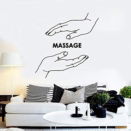 DLYD Massage Wandtattoo Spa Center Hand Schönheitssalon Entspannungszeit Gesundheit Physiotherapie Raumdekoration Tür Fenster Vinyl Aufkleber Kunst Wandbild 57x58cm