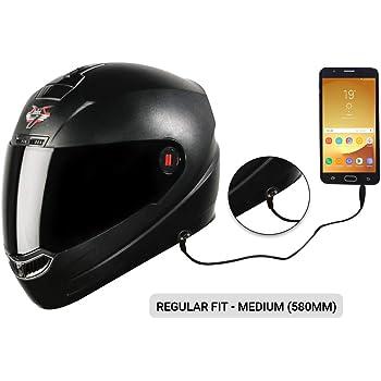 Steelbird SBA-1 7Wings HF Dashing Full Face Helmet with Smoke Visor and Detachable Handsfree Device (Regular Fit Medium 580 MM, Dashing Black with Smoke Visor)