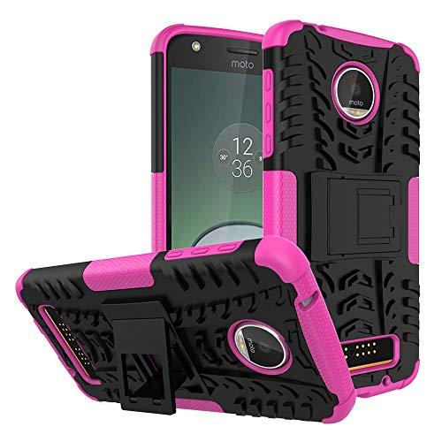 Capa para Moto Z Play, JYZR resistente, camada dupla, 2 em 1, resistente, resistente, resistente, resistente, resistente, com suporte, capa para Motorola Moto Z Play – Rosa choque