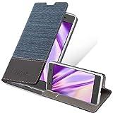 Cadorabo Hülle für Sony Xperia E5 - Hülle in DUNKEL BLAU SCHWARZ – Handyhülle mit Standfunktion & Kartenfach im Stoff Design - Hülle Cover Schutzhülle Etui Tasche Book