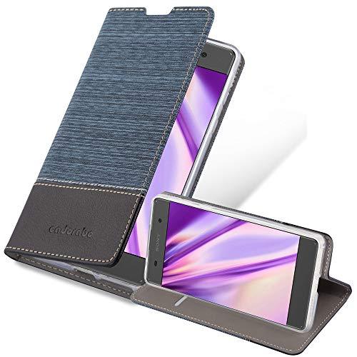 Cadorabo Hülle für Sony Xperia E5 in DUNKEL BLAU SCHWARZ - Handyhülle mit Magnetverschluss, Standfunktion & Kartenfach - Hülle Cover Schutzhülle Etui Tasche Book Klapp Style