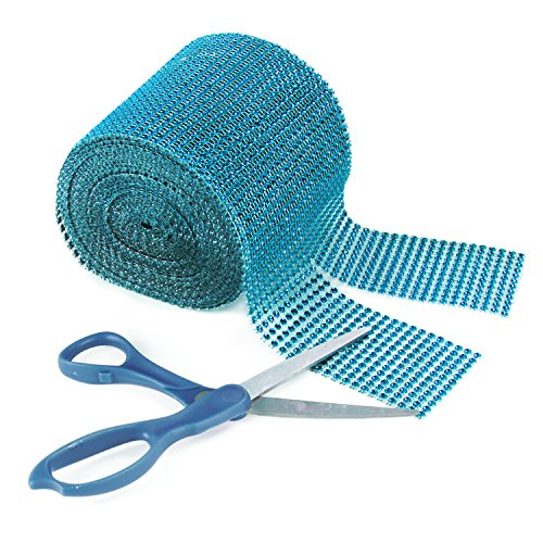 "Turquoise Rhinestone Diamond Style Arts and Crafts Decorating Mesh Ribbon Roll (4.75"" x 10 Yards, 24 Row, 1 Roll)"