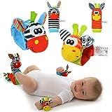 Yiset Handgelenk-Rassel/Socken-Rassel für Babys, weich, 4 Stück