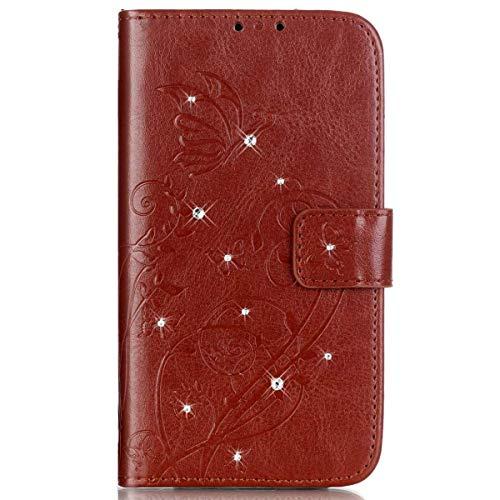 kompatibel mit Huawei G8 Hülle,Huawei GX8 Hülle,Handyhülle Huawei G8 Lederhülle Blume Schmetterling Glitzer Strass Diamant PU Leder Flip Hülle Wallet Tasche Hülle Cover Schutzhülle für Huawei G8,Braun