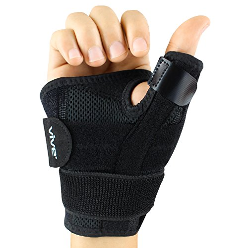 STABLE SUPPORT FOR THUMB: Supporting the thumb joints and ligaments, the Vive thumb brace restricts the movement of the thumb while supplying adjustable compression and retaining therapeutic heat to improve circulation and promote healing. The lightw...