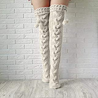 Nuokix Gothic New Tassel Ball Sexy Knit Stocking for Women Winter Over Knee Long Boot Warm Stockings Thigh-High Knit Stock...