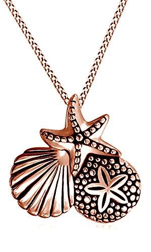 AFFY - Collana con ciondolo a forma di stella marina, in argento Sterling 925 placcato oro massiccio 18 kt e Argento placcato oro rosa 18 ct, cod. M-CSP24279-RG