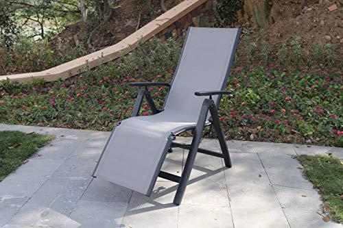 VILLANA Relaxsessel, anthrazit/grau, Alu/Textilene, 67 x 58 x 110 cm, klappbar