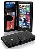 Cadorabo Hülle für Nokia Lumia 929/930 in Oxid SCHWARZ – Handyhülle mit Magnetverschluss & 3 Kartenfächern – Hülle Cover Schutzhülle Etui Tasche Book Klapp Style