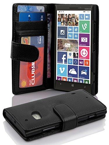 Cadorabo Custodia Libro per Nokia Lumia 929/930 in NERO PROFONDO - con 3 Vani di Carte e Chiusura Magnetica - Portafoglio Cover Case Wallet Book Etui Protezione