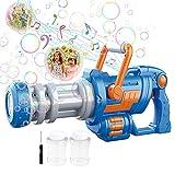 Máquina de Burbujas para Niños,Pistola Pompas Jabón,Mecanismo de Soplado CAMFUN con Música y Luz para niños o Mascotas,Pistola de Burbujas para niños,Regalo para Verano al Aire Libre para Niños,Azul