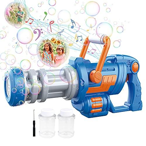 Máquina de Burbujas para Niños,Pistola Pompas Jabón,Mecanismo de Soplado CAMFUN con Música y Luz para niños o Mascotas,Pistola de Burbujas para niños,Regalo para Verano al Aire Libre para Niño