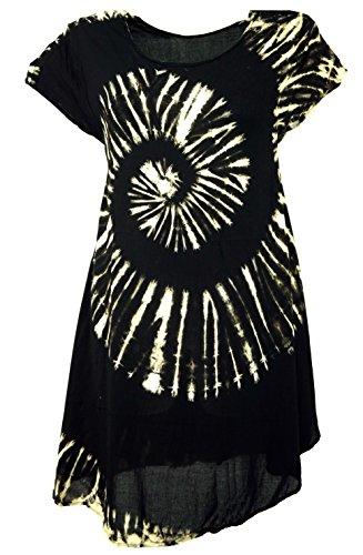 Guru-Shop Batik Tunika, Midikleid, Strandkleid, Kurzarm Sommerkleid für Starke Frauen, Damen, Schwarz, Synthetisch, Size:42, Kurze Kleider Alternative Bekleidung