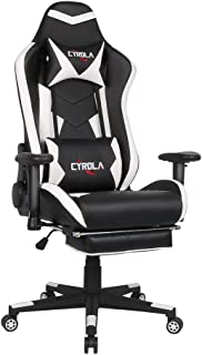 Cyrola Large Gaming Chair with Footrest High Back Adjustable Armrest Heavy Duty PC Racing Gaming Chair for Adults Gamer Chair Ergonomic Design Video Game Chair Lumbar Support White/Black