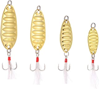 TUXIBIN 4Pcs Hard Fishing Lures Metal Fishing Spoons, Hard Baits Metal Fishing Lures Spinner Baits, with High Carbon Steel...
