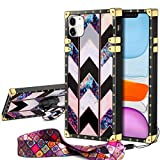 JAKPAK Case for iPhone 11 Case with Kickstand for Girls Women Soft TPU Luxury Cover with Strap Shockproof Protective Heavy Duty Metal Cushion Reinforced Corners Case for iPhone 11 6.1 inches Geometric