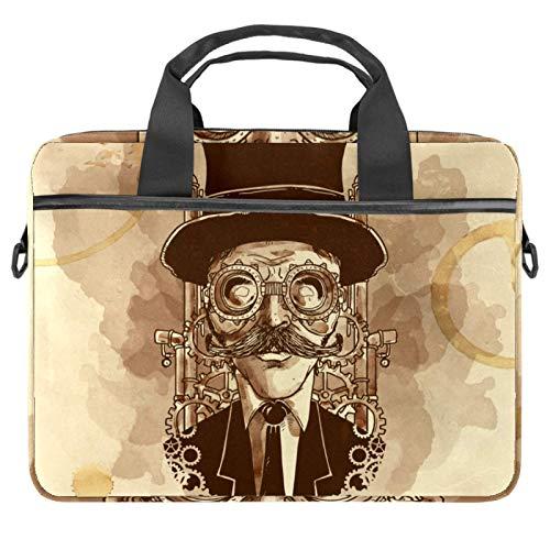 Hand Painted Steampunk Man Laptop Bags 13.4-14.5-Inch Business Laptop Shoulder Removable Strap Satchel Case Laptop Briefcase