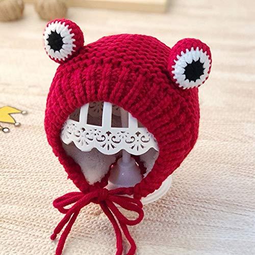 Lindo Gorro de Punto con pompón para bebé, Gorro Grueso y cálido para bebé, niña, niño, Gorro, Gorro de Invierno para niños, Gorro para bebé, Gorro para recién Nacido-Style 4 Red