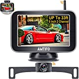 Wireless Backup Camera for Truck AMTIFO 5 Inch HD 1080P Car Bluetooth Backup Camera Support Add 2nd Wireless RV Rear View Camera or Licence Plate Backup Camera,Easy Installation,DIY Grid Lines - W3