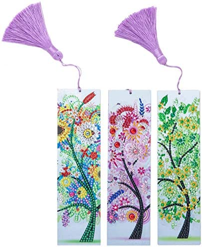 GOTONE 3 Pieces 5D Diamond Painting Bookmark DIY Book Marks with Tassel for Kids Adults Beginner product image