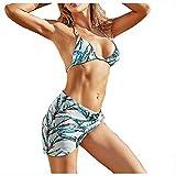 POachers Mujer Bikinis de Hálter Bañadores de Tanga con Flada Triángulo Sujetador Traje de Baño Push Up con Relleno Ropa de Baño Natacion Playa Verano Fiesta Piscina Top y Shorts con Flada 3 Pieza