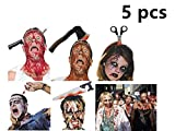 Halloween Headband 5 PCS Zombie Headbands Bloody Headpieces Headwear Cleaver Through Head Headband Bleeding Knife Scissors Saw Blade Hair Bands for Tricky Toys Halloween Zombie Costume Party Supplies -  Swity Home-0822