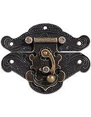 Antiek reliëf Latch Hasp gesp slot met schroeven voor houten sieraden doos kast