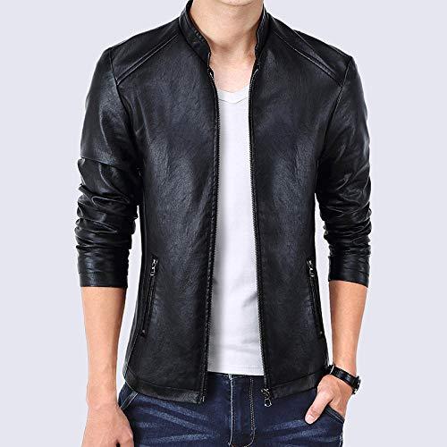 Mens Thick Warm Jacket Coat Full Slim-fit plus velvet coat-black_XL