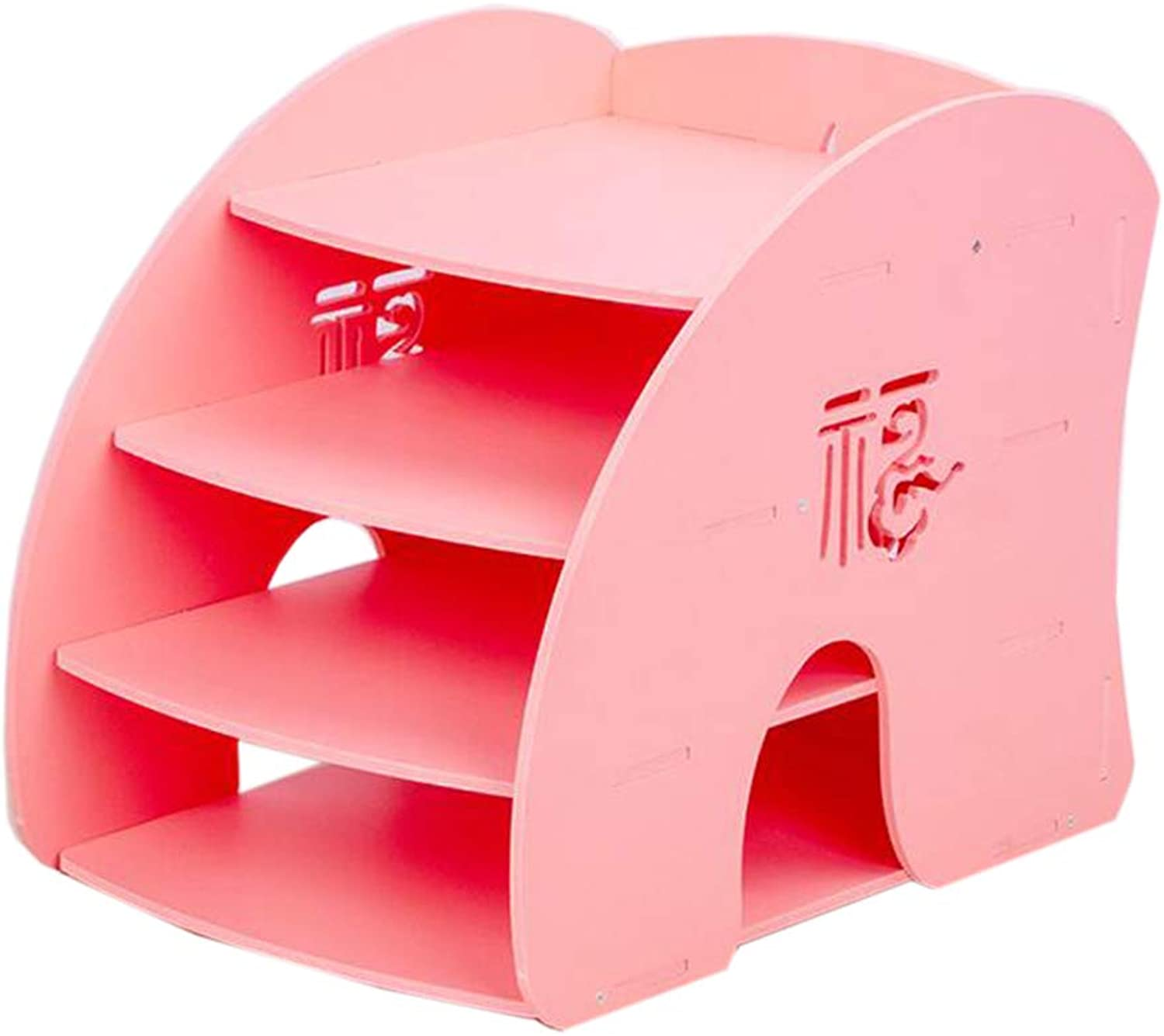 JCAFA Shelves Desktop File Storage Rack Hollow Carving File Holder Office Supplies Desktop Manager Office Storage Shelf (color   Pink, Size   4 Layers)