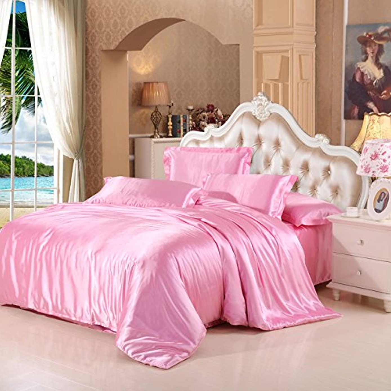 カウンタマイナスマラソンZHIYUAN サテンの布団カバーフラットシート枕カバーセット,シングル,ピンク