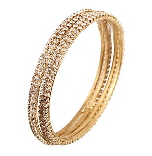 Touchstone Armreif Kollektion traditionelle schlanke einzeilige klare Rhein indische Bollywood Designer Schmuck Metall Armreifen Armbänder für Damen 2.37 Antique Gold-Ton
