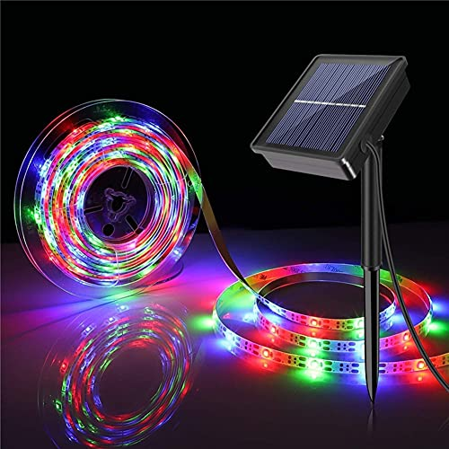 Solar Powered SMD 2835 LED Strip Lights Outdoor Waterproof 90 LED 9.8ft Strip Lights 3 Modes Flexible Solar Strip Lights for Window Cabinets Stairs Roof Patio Walkway Fence Decor (RGB)