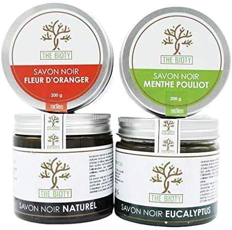 Savon Noir traditionnel pour hammam et gommage naturel du maroc exfoliant en pot de 200 G (200g) : 4 Parfums (Eucalyptus)