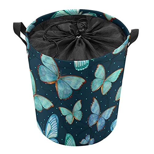 Cubo de almacenamiento impermeable grande organizador ligero cesta para la colada, cubos de juguete, cestas de regalo, ropa sucia, dormitorio de los niños, baño, mariposa azul animal