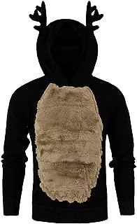 Men Autumn Winter Xmas Hoody Reindeer Feather Hooded Christmas Fleece 3D Tops