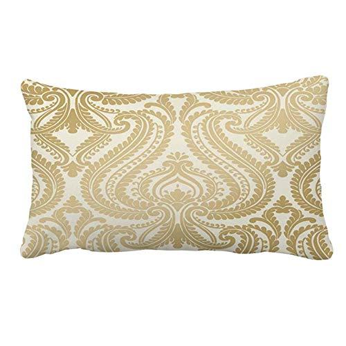 Funda de cojín de damasco dorado de 30 x 50 cm para decoración del hogar, sala de estar y sofá