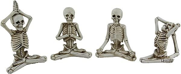 4 Pc Bone Stretchers Skeletons In Yoga Poses Decorative Statue Set