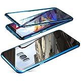 Jonwelsy Hülle für Samsung Galaxy S8 Plus, Magnetische Adsorption Metall Stoßstange Flip Cover mit 360 Grad Schutz Doppelte Seiten Transparent Gehärtetes Glas Handyhülle für Samsung S8+ (Blau)