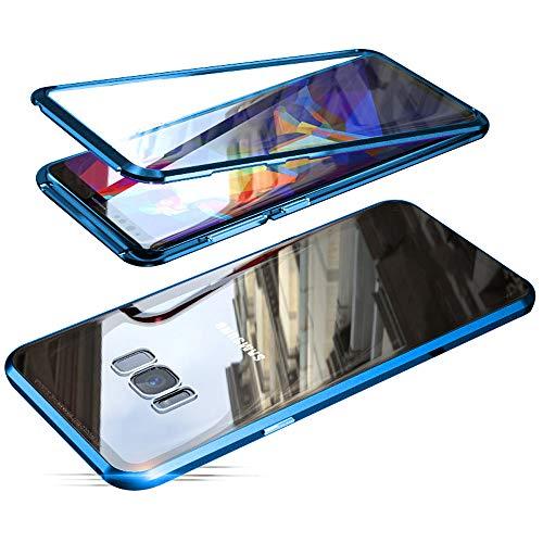 Jonwelsy Hülle für Samsung Galaxy S8, Magnetische Adsorption Metall Stoßstange Flip Cover mit 360 Grad Schutz Doppelte Seiten Transparent Gehärtetes Glas Handyhülle für Samsung S8