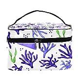 Bolsa de cosméticos portátil resistente al agua con flores y hojas (22,6 x 15 x 13,7 cm)