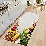 OPLJ Alfombra Antideslizante de Cocina con Estampado de Frutas para el hogar, Felpudo de Bienvenida para Sala de Estar Interior, Alfombra Lavable para baño A7 60x180cm