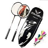 LSBQQ Raquetas De Bádminton,Unisex Adulto Badminton Racket-Incluyendo Bádminton Bolsa/2 Raquetas/3 Bádminton,Negro